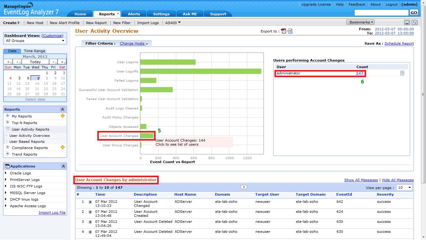 manageengine event log analyzer screenshot