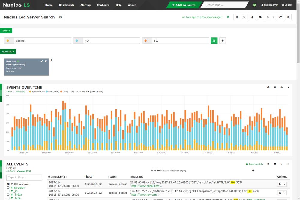 nagios log server screenshot