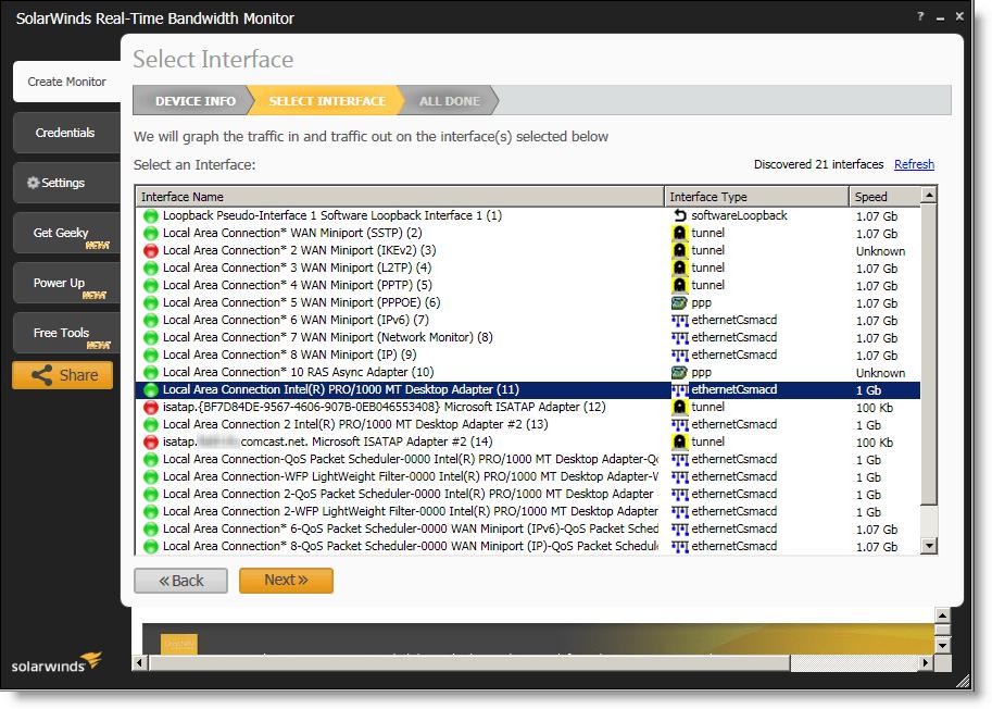 SolarWinds Realtime Bandwidth Monitor Screenshot