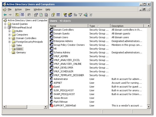 Microsoft Active Directory screenshot