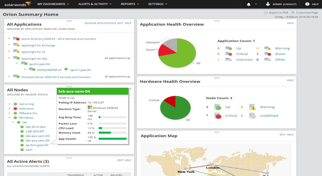 server and application monitotr