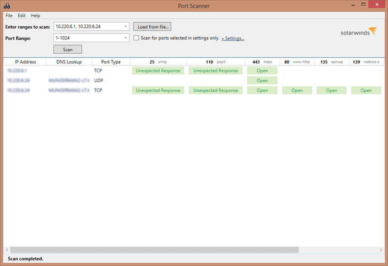 SolarWinds Port Scanner