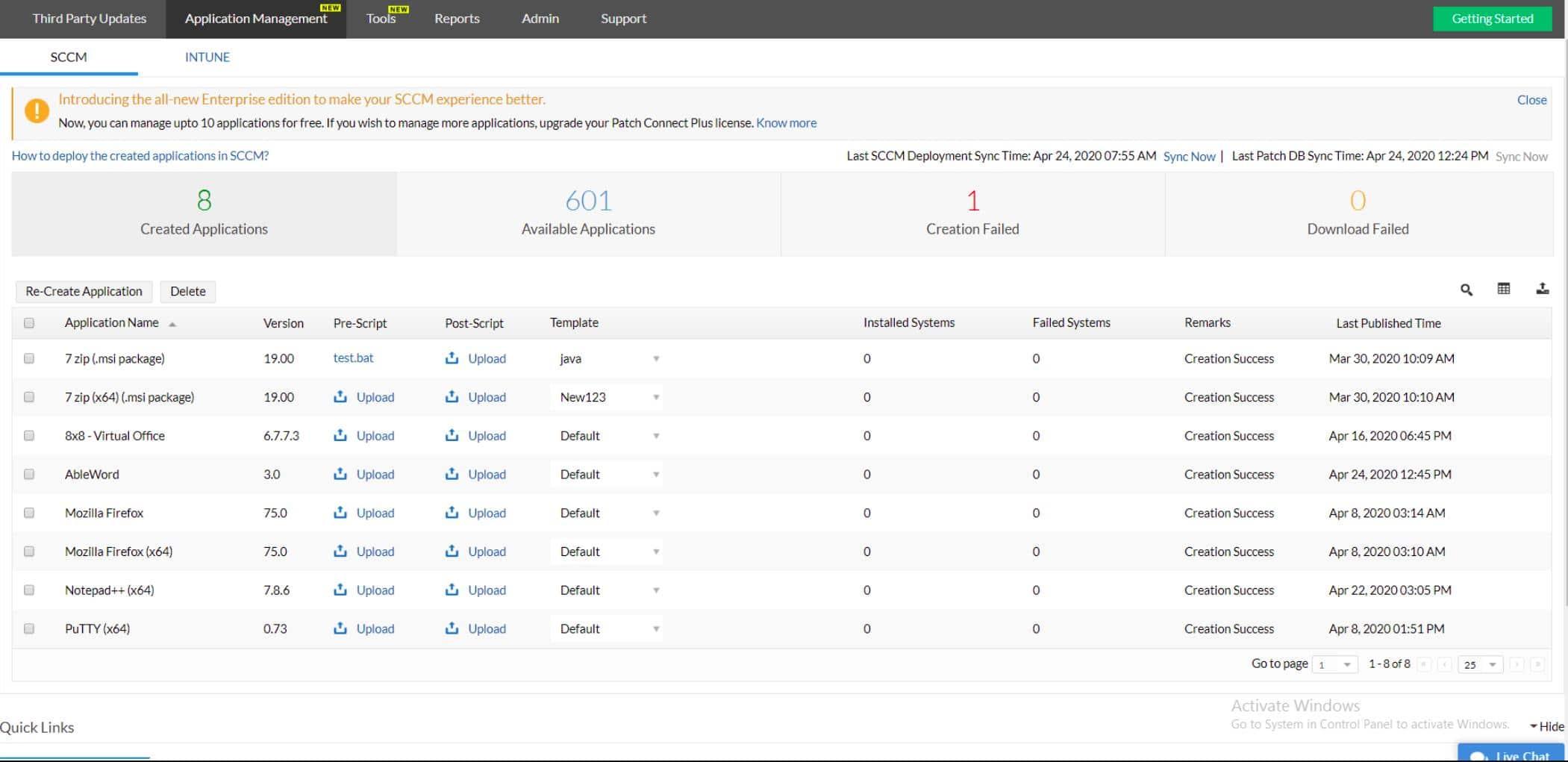 ManageEngine Patch Connect Plus SCCM Application Management