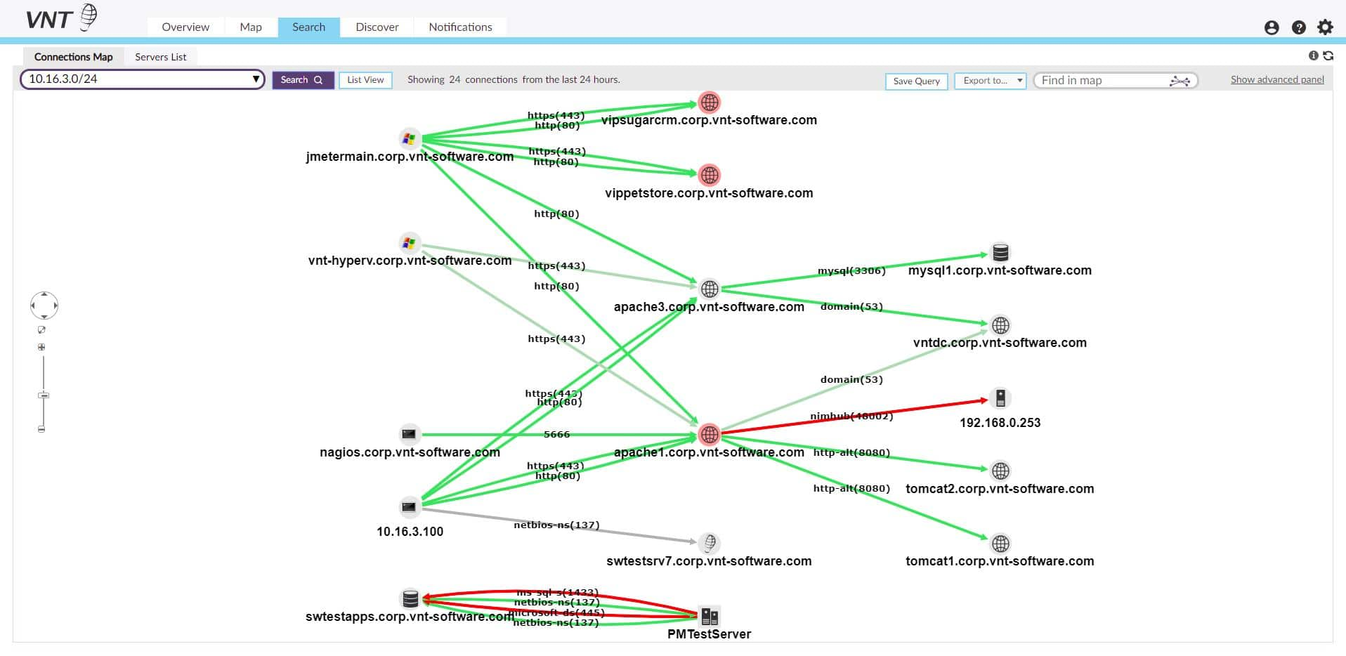 VNT Network Discovery Map screenshot