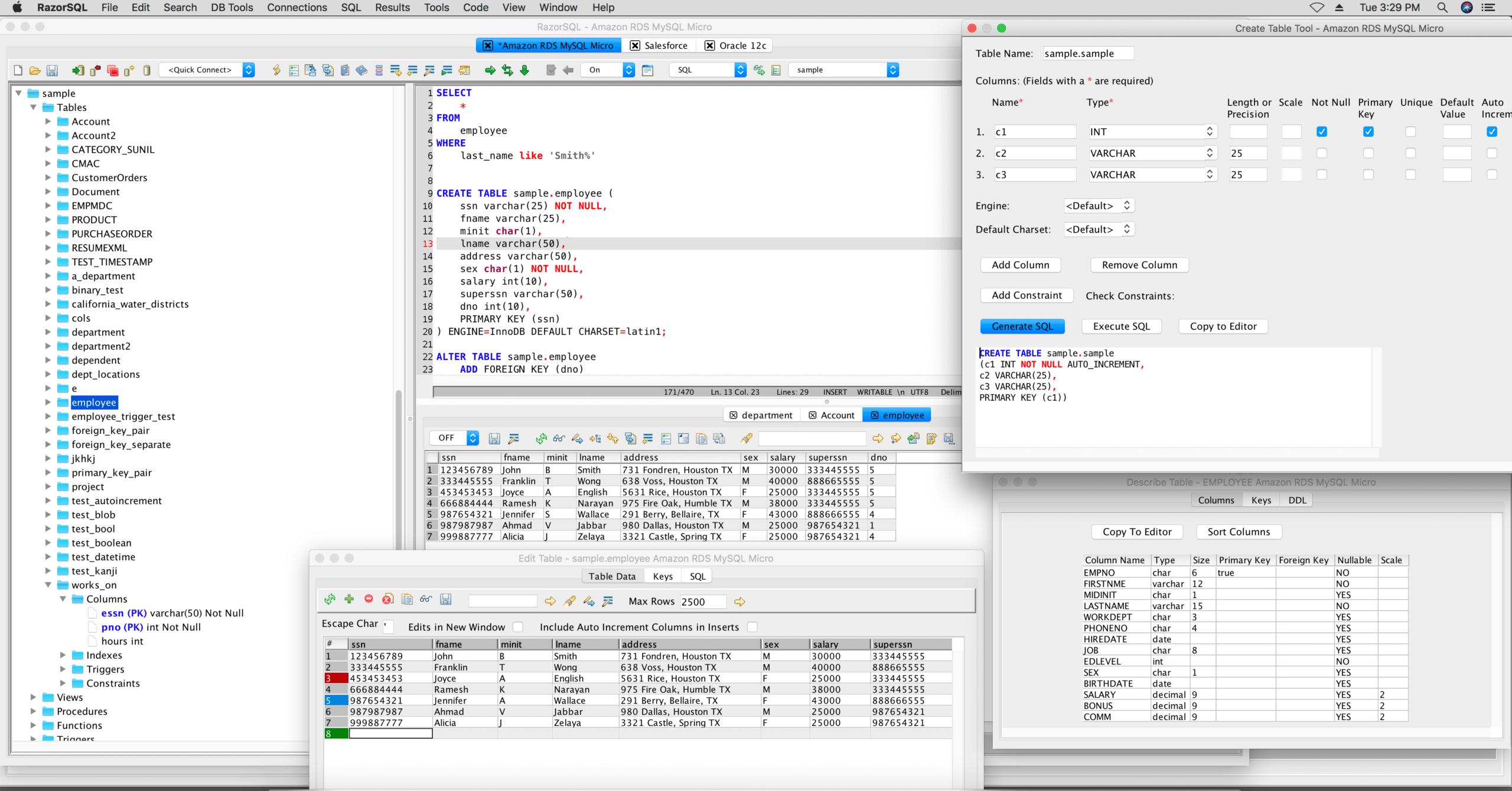 Razor SQL Database Tool