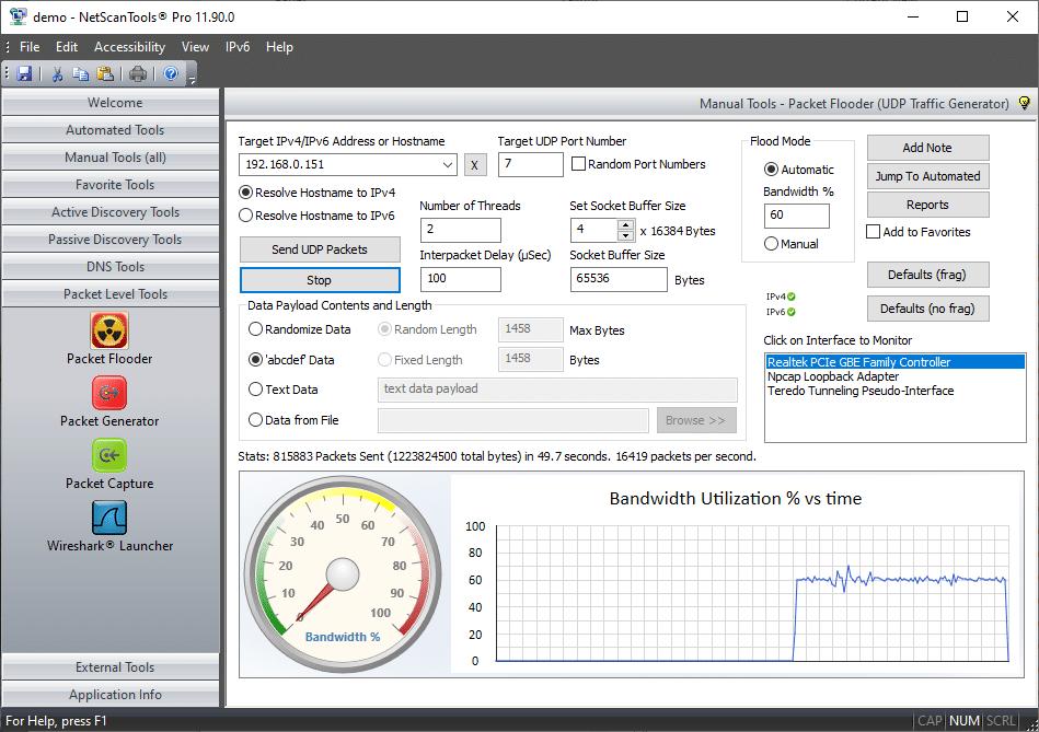 NetScanTools Pro network stress tester