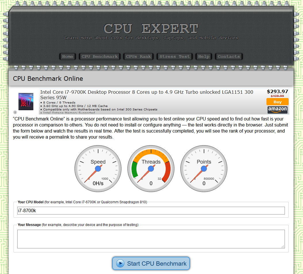 CPU Expert web CPU test