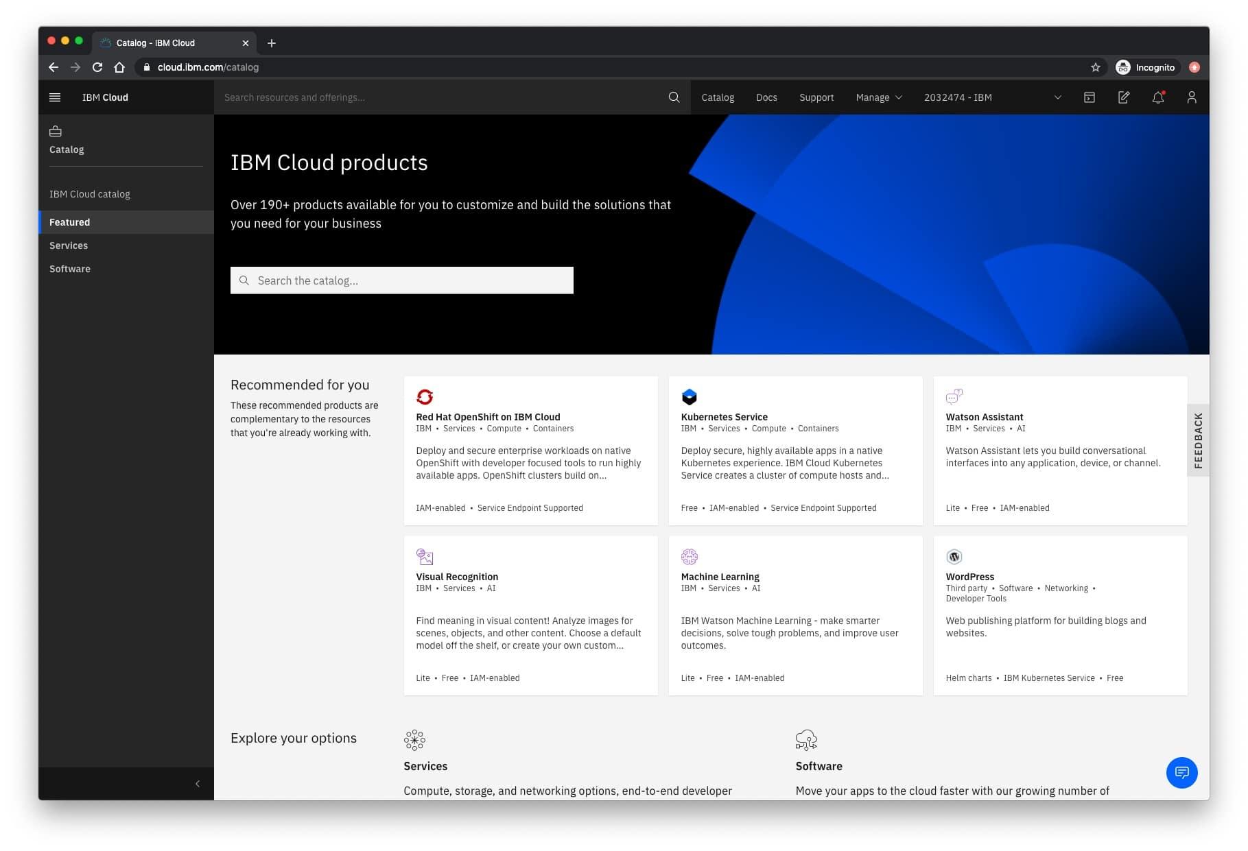 IBM Cloud dashboard - catalog