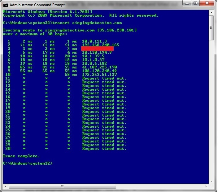 Traceroute Request timed out
