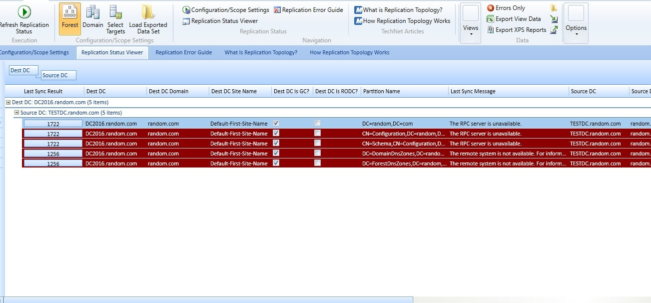 Active Directory Replication Status Tool
