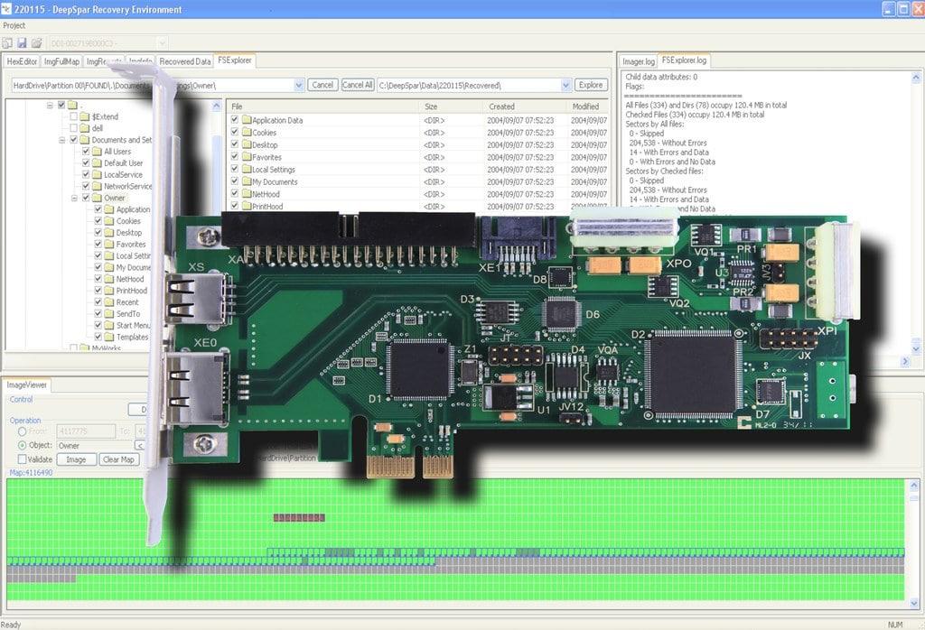 DeepSpar Disk Imager dashboard