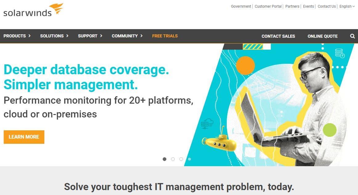 SolarWinds - Server & Application Monitor SAM website